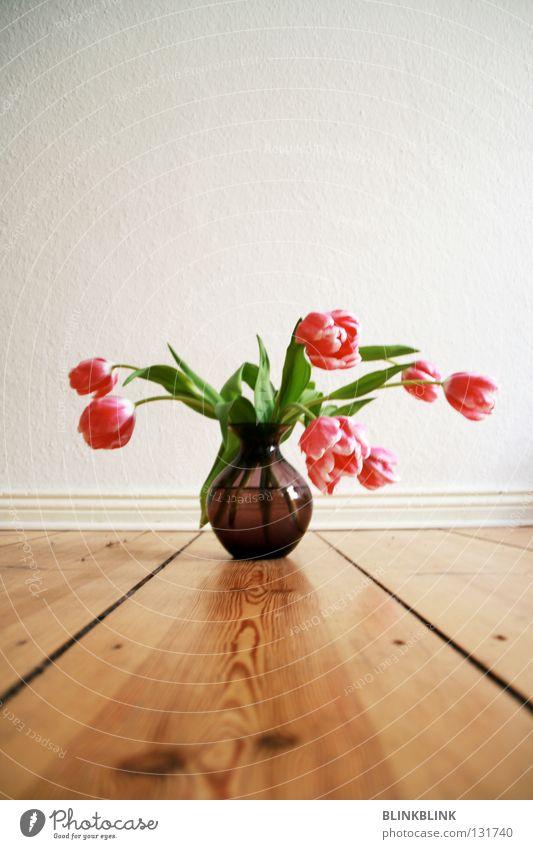 #2 Tulpe Blumenstrauß Blumenvase Vase retro violett rosa Wand Holz Frühling grün Niederlande Glasvase Flur Dekoration & Verzierung Interior Wasser Leben Pflanze