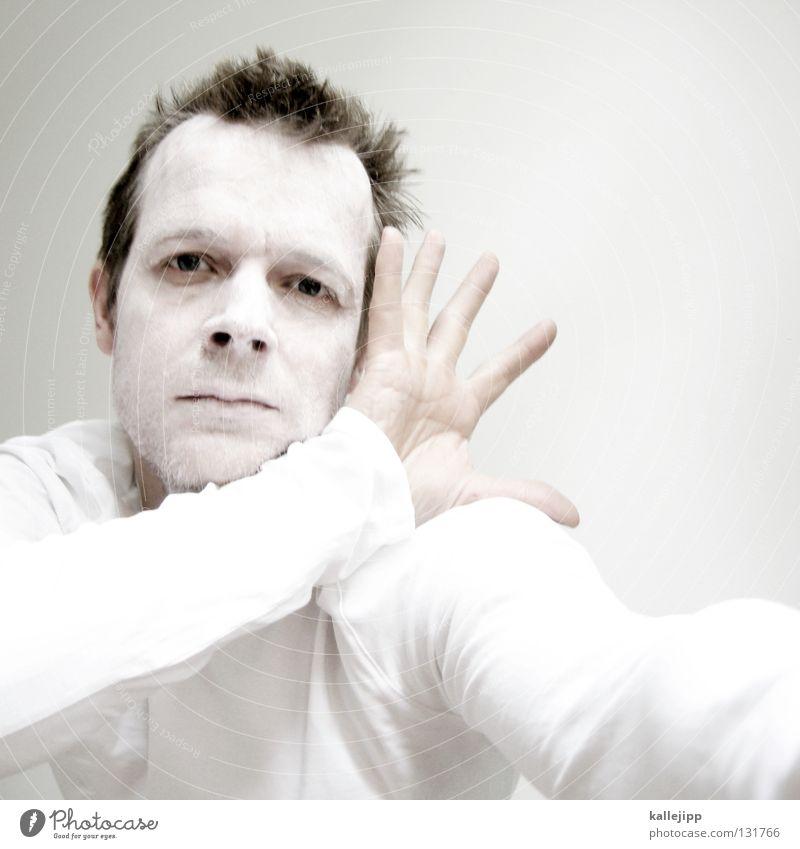 white five verrückt Krankheit Psychiatrie Tick Wut Tier Monster Mann weiß Schminke Bäcker Kalk Bart Lippen Hemd Sonnencreme Strahlung Licht durcheinander
