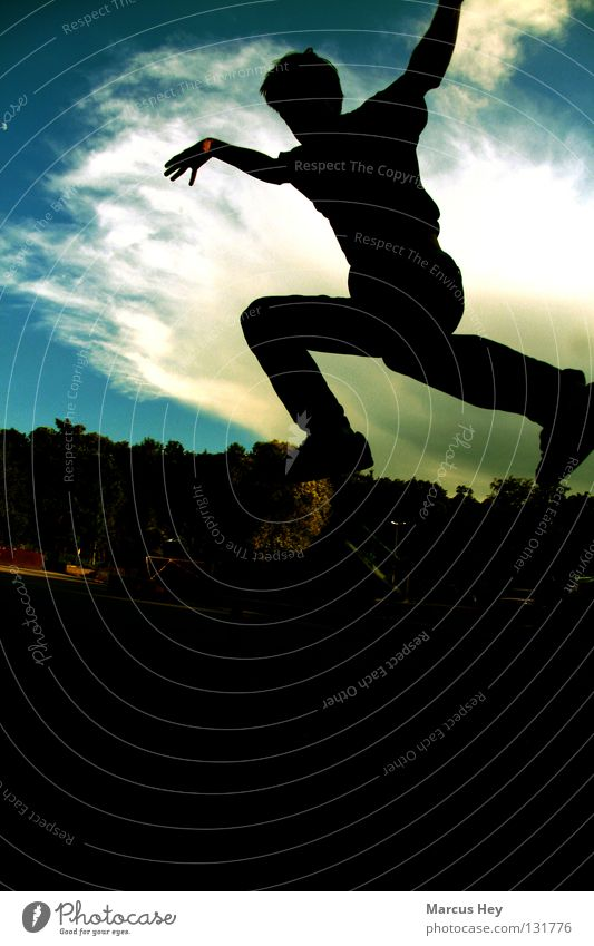 Menschen können auch fliegen! Bewegung springen Hintergrundbild Gastronomie Vordergrund