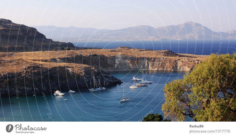 Blick von der Akropolis Himmel Natur Ferien & Urlaub & Reisen Sommer Wasser Sonne Meer Landschaft Ferne Strand Berge u. Gebirge Küste Insel Ausflug Bucht Hafen