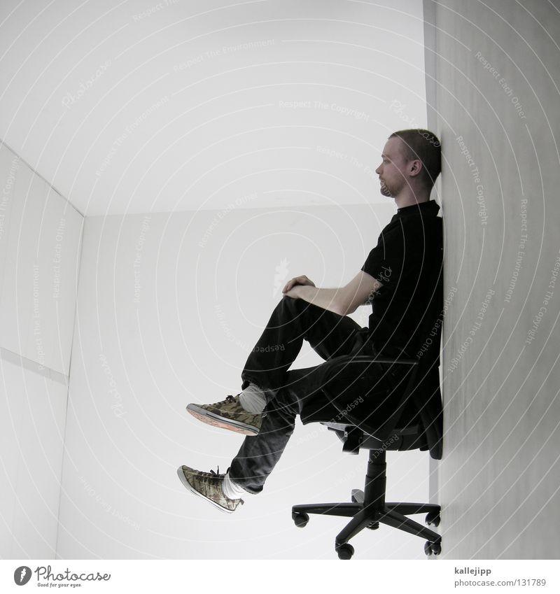 think tank Mensch Mann weiß Wand Haare & Frisuren Büro Lampe Beleuchtung Arbeit & Erwerbstätigkeit Raum außergewöhnlich sitzen warten Elektrizität Kabel Show