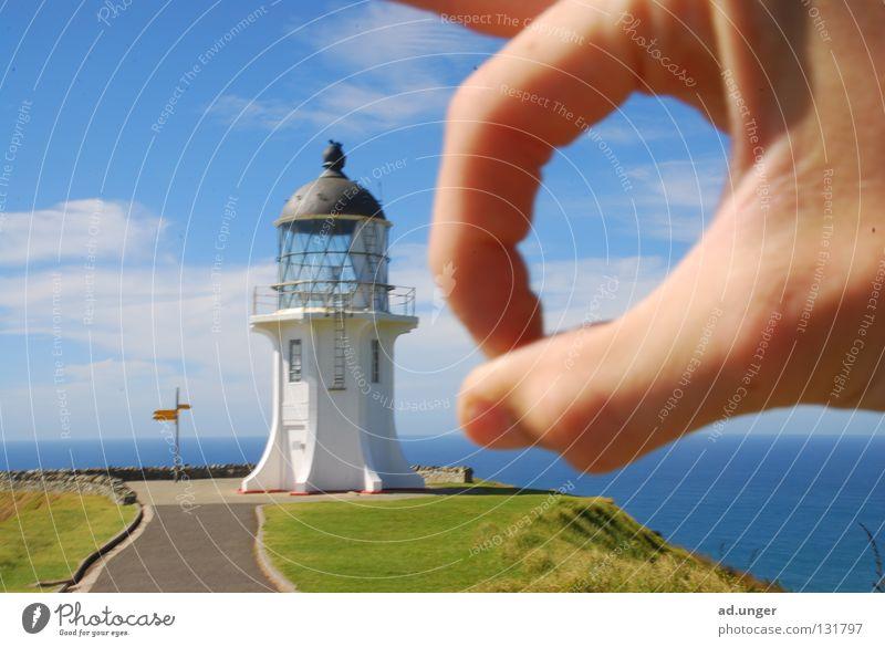Weg bist, Du! Umhang Neuseeland Küste Schifffahrt Leuchturm Cape Reinga Tasman Sea Pacific Sea chess