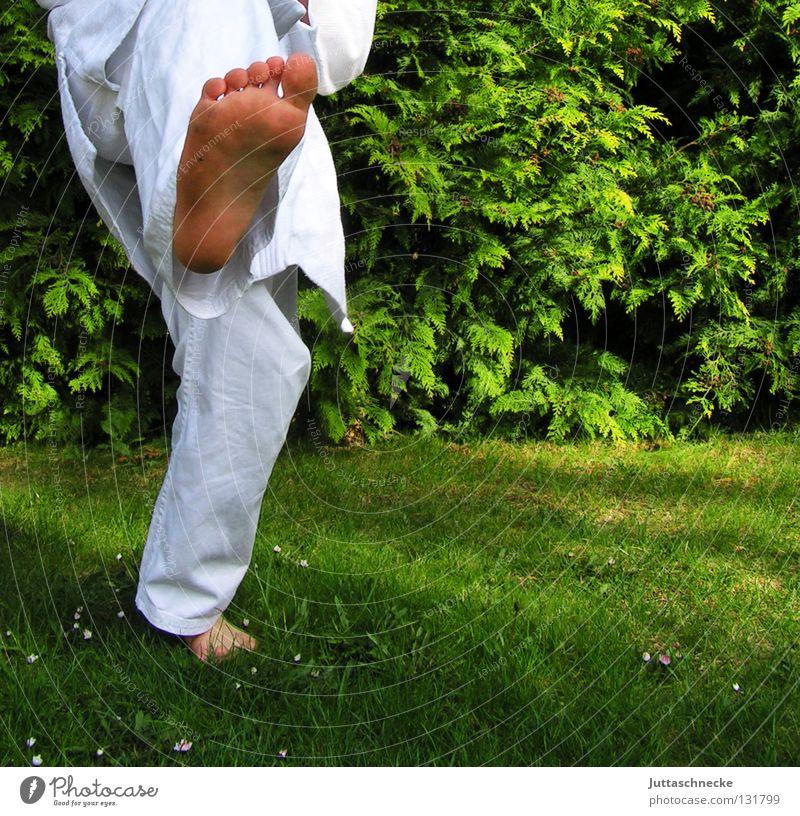 Im Gleichgewicht Karate Judo Kampfsport weiß grün üben Kick springen Kampfanzug Fußtritt treten Japan Samurai Zufriedenheit schlagen Kämpfer Karateka Gegner