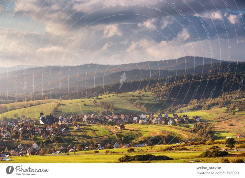 Polnische Provinz Natur Landschaft Pflanze Luft Himmel Wolken Herbst Schönes Wetter Baum Gras Sträucher Garten Wiese Feld Wald Hügel Dorf Kleinstadt Haus Kirche