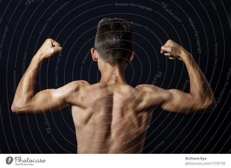 Muskelshow Mensch Sport Gesundheit Lifestyle maskulin Zufriedenheit Kraft Körper ästhetisch Rücken Fitness sportlich Mut Stahl Sport-Training