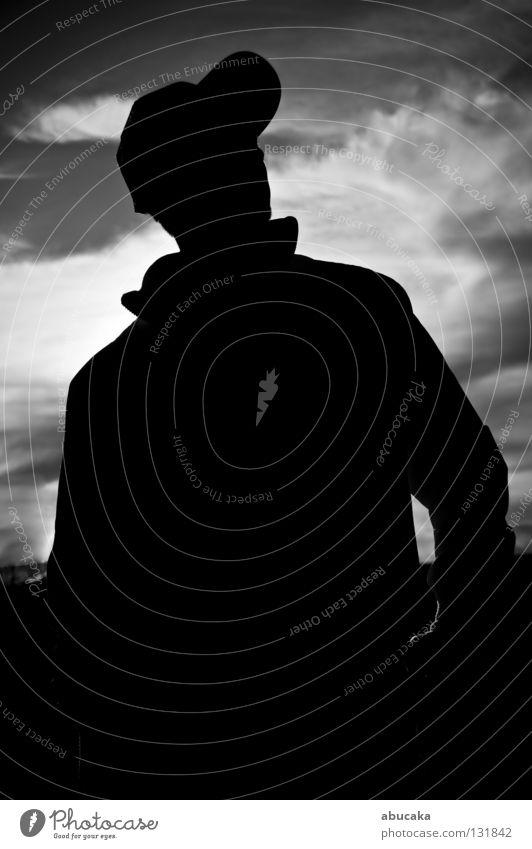 Stolz Mensch weiß Sommer schwarz Wolken Berge u. Gebirge grau Linie Zusammensein Kraft Angst maskulin durcheinander Digitalfotografie
