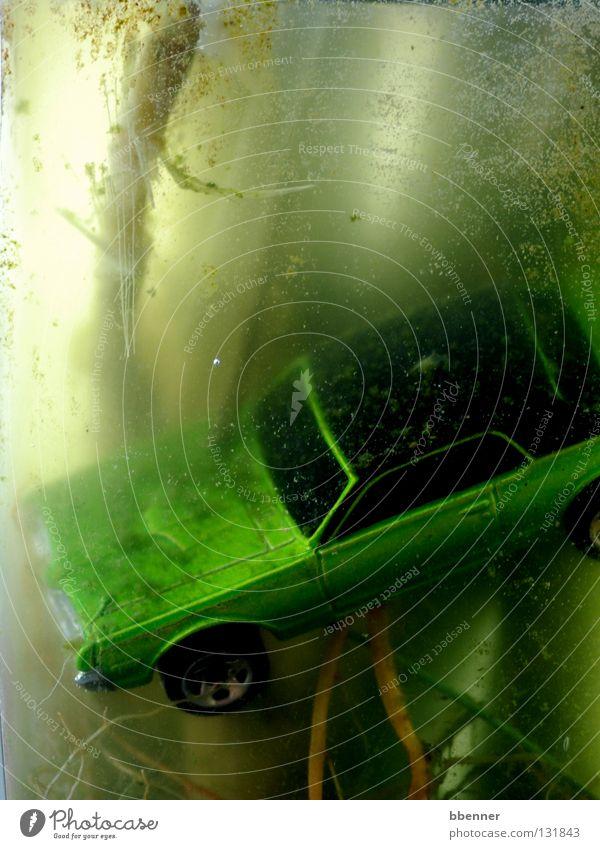 Unter Wasser Natur grün Pflanze Fenster PKW Dach Trauer Technik & Technologie Vergänglichkeit verfallen tauchen Blase Verzweiflung Wurzel untergehen