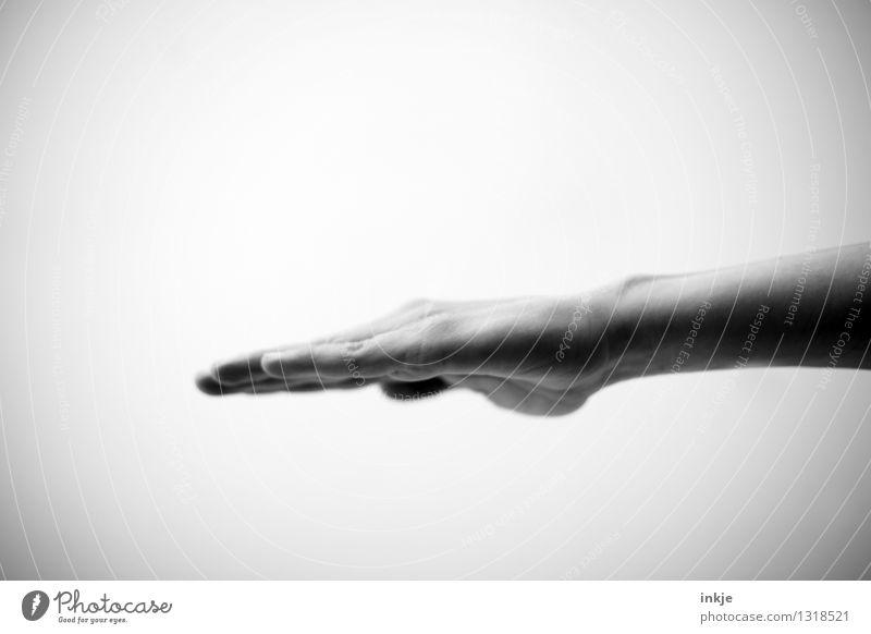 _____ Lifestyle sprechen Mensch maskulin feminin Leben Hand 1 Kommunizieren machen Stimmung gestikulieren Vor hellem Hintergrund beruhigend Handkantenschlag