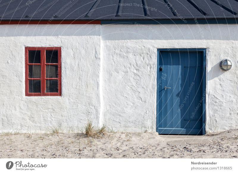 Dänemark.... Ferien & Urlaub & Reisen blau Sommer weiß Meer rot ruhig Haus Strand Fenster Architektur Küste Gebäude Fassade Häusliches Leben frisch