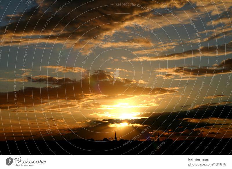 Contrast in Light Himmel Sonne blau Wolken Religion & Glaube Horizont Himmelskörper & Weltall Kirchturm