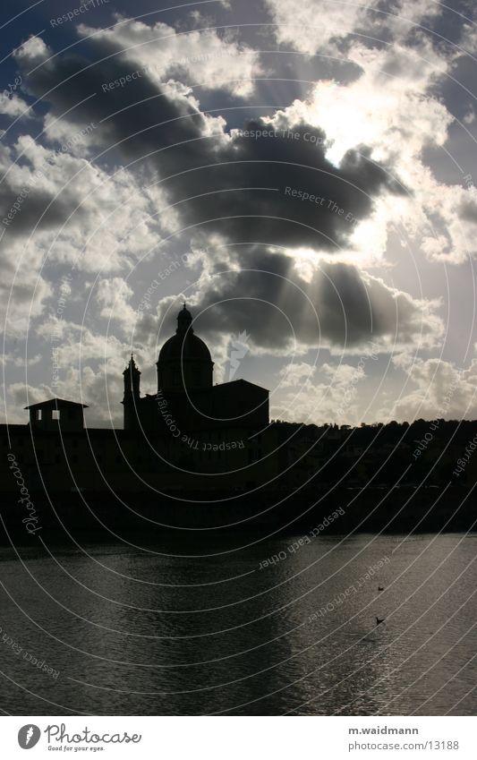 Götterdämmerung Wolken Florenz Italien Architektur Fluss Religion & Glaube Sonne
