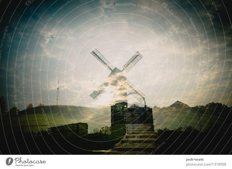Zwickmühle Marzahn Windmühle Treppe Wahrzeichen außergewöhnlich Inspiration Klima stagnierend Surrealismus Vergangenheit Doppelbelichtung Vignettierung