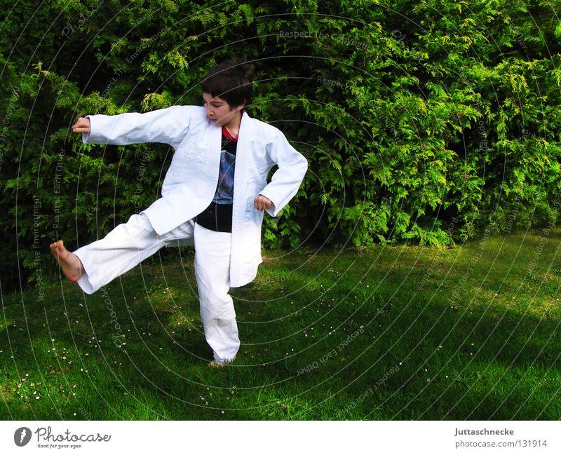 Derwisch Karate Judo Kampfsport weiß grün üben Kick springen Kampfanzug Fußtritt treten Japan Samurai Zufriedenheit schlagen Kämpfer Karateka Gegner kämpfen