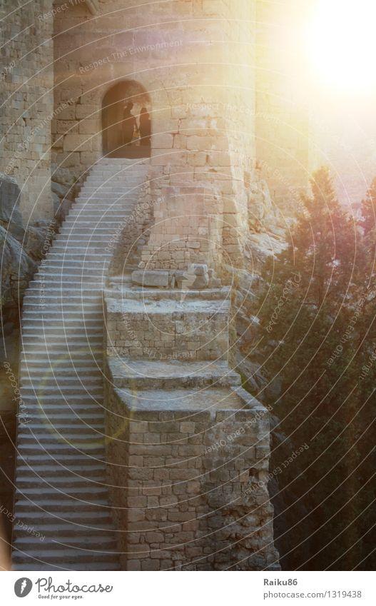 Akropolis von Lindos Ferien & Urlaub & Reisen Ausflug Ferne Sightseeing Sommer Sommerurlaub Sonne Kultur Dorf Kleinstadt Altstadt Burg oder Schloss Ruine