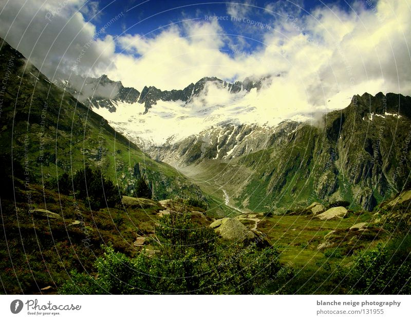 swiss fairy tale Himmel grün blau Wolken Schnee Berge u. Gebirge Felsen Hoffnung Aussicht Schweiz Alpen Alm Bergwiese