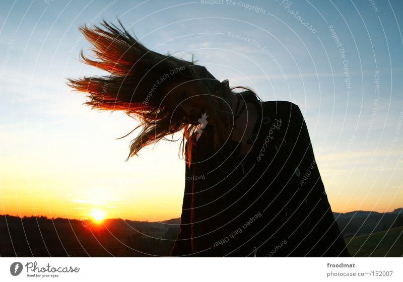 meine flamme Aktion liebste schön Licht gefroren Ferien & Urlaub & Reisen Schwung Haare & Frisuren prächtig süß Abendsonne Sonnenuntergang Gegenlicht feurig