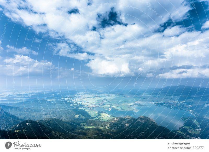 Blaukraft Umwelt Natur Landschaft Luft Wasser Himmel Wolken Frühling Sommer Klima Klimawandel Wetter Schönes Wetter Feld Wald Hügel Berge u. Gebirge Seeufer