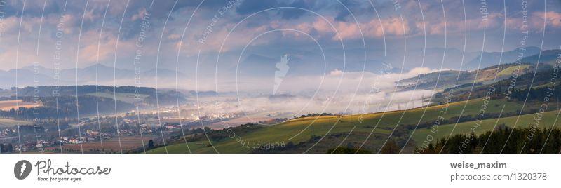 Herbst in der Slowakei Energiewirtschaft Landschaft Himmel Wolken Sonnenaufgang Sonnenuntergang Schönes Wetter Nebel Pflanze Baum Garten Wiese Feld Hügel