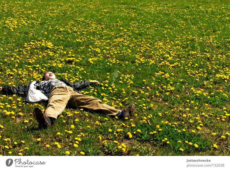 Löwenzahnengel Pause Erholung Wiese Blumenwiese schlafen gelb Sommer Frühling grün liegen träumen Freude Kindheit liegen Zufriedenheit chillen relaxen Müdigkeit