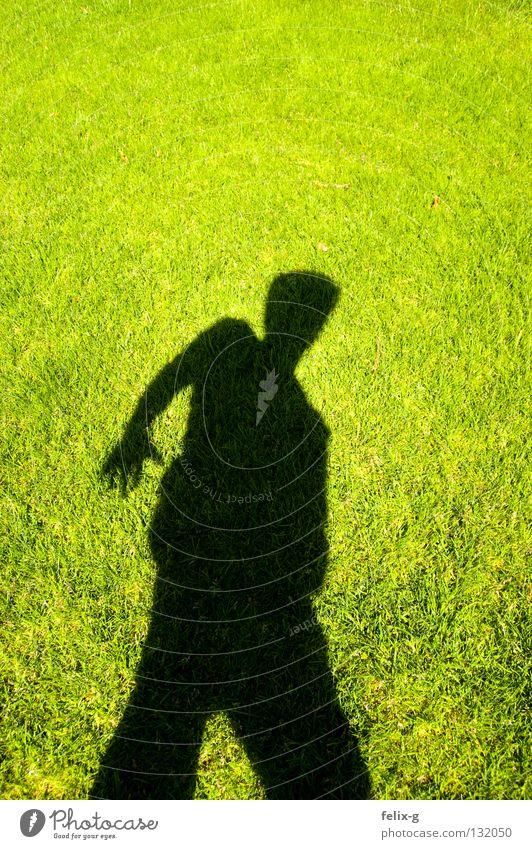 Rasenmensch #1 Mensch Hand Sonne grün Gras Beine hellgrün Schlagschatten