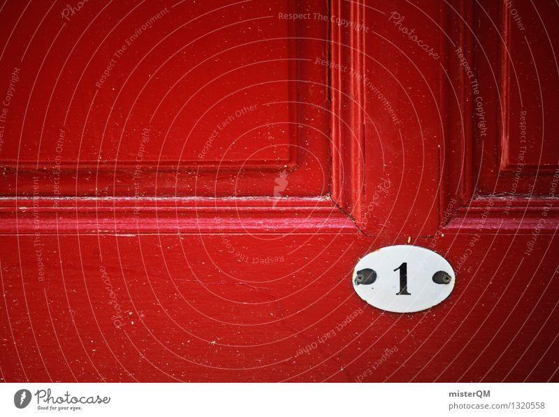 1 rot Kunst Tür Schilder & Markierungen ästhetisch Ziffern & Zahlen