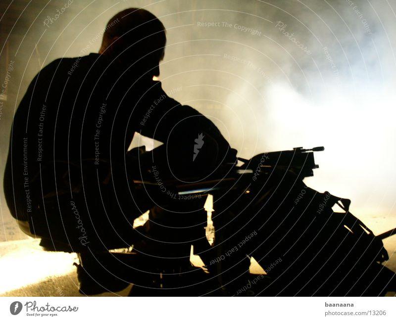 Kameramann Mann Nebel sitzen Nervosität