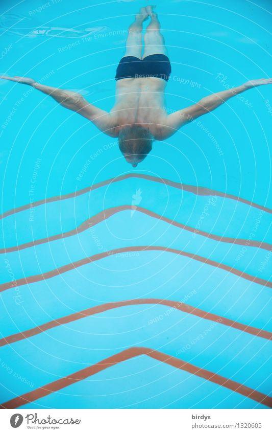 Nachmacher Mensch Jugendliche Mann blau nackt Wasser rot Junger Mann Erwachsene Leben außergewöhnlich Schwimmen & Baden Linie maskulin elegant Körper