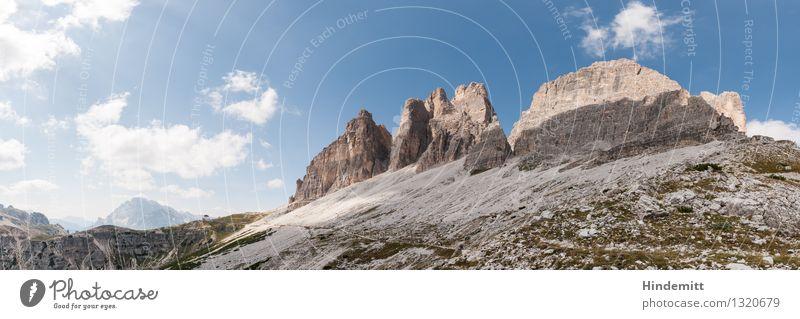 Drei Zinnen Umwelt Natur Landschaft Urelemente Himmel Wolken Sommer Schönes Wetter Felsen Alpen Berge u. Gebirge Dolomiten Gipfel Haus Sehenswürdigkeit wandern