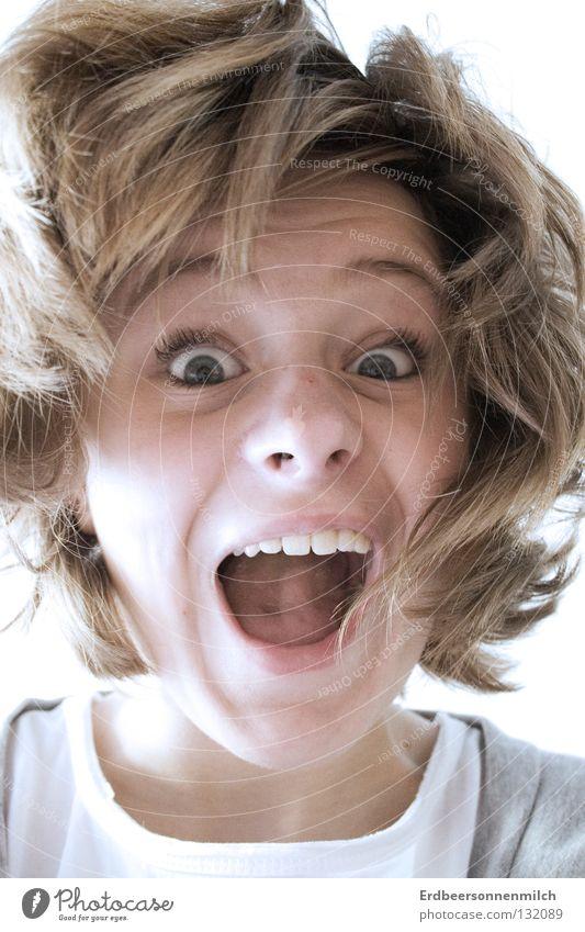 Attacke Frau schön weiß Freude Glück Haare & Frisuren Kopf Mund hell Geschwindigkeit Aktion Zähne Lippen fantastisch schreien brünett