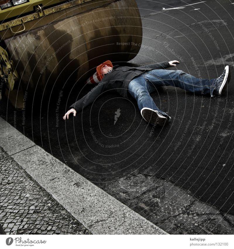 death of a hütchenspieler Mensch Mann Freude Tod Mauer PKW lustig Schilder & Markierungen Verkehr schlafen Lifestyle Industrie Baustelle Symbole & Metaphern Güterverkehr & Logistik Zeichen