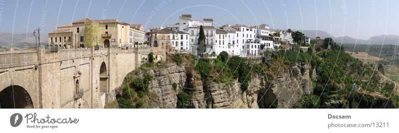Panorama Rhonda Stadt Ferien & Urlaub & Reisen Haus Ferne Berge u. Gebirge Andalusien Landschaft groß Ausflug Europa Brücke Spanien tief Schlucht