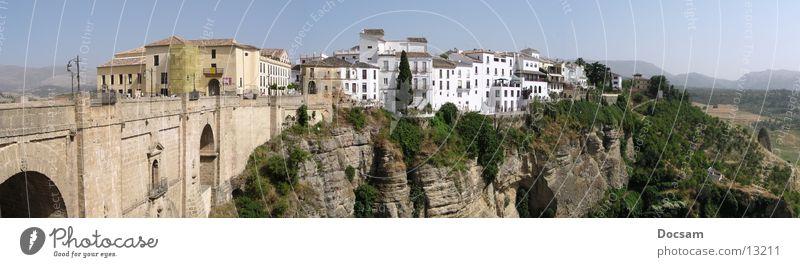 Panorama Rhonda Stadt Ferien & Urlaub & Reisen Haus Ferne Berge u. Gebirge Andalusien Landschaft groß Ausflug Europa Brücke Spanien tief Schlucht Panorama (Bildformat) Malaga