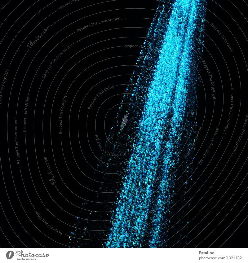 Strahl(end) Show blau schwarz Laser Beleuchtung Strahlung Lichtpunkt Farbfoto Gedeckte Farben Außenaufnahme Menschenleer Textfreiraum links Nacht