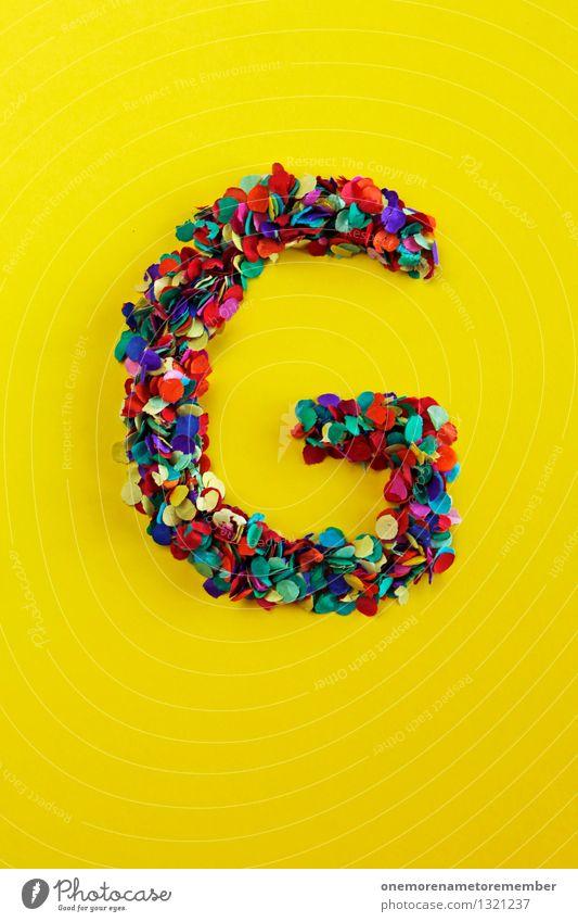 G grün gelb Gefühle Glück Kunst Design ästhetisch Kreativität Buchstaben Typographie Kunstwerk Konfetti knallig