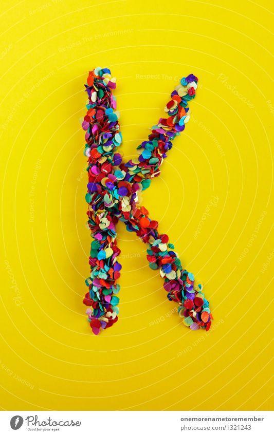 K Kunst Kunstwerk ästhetisch Kind Kindheit klein viele Konfetti gelb knallig mehrfarbig Buchstaben Typographie Farbfoto Innenaufnahme Experiment abstrakt Muster