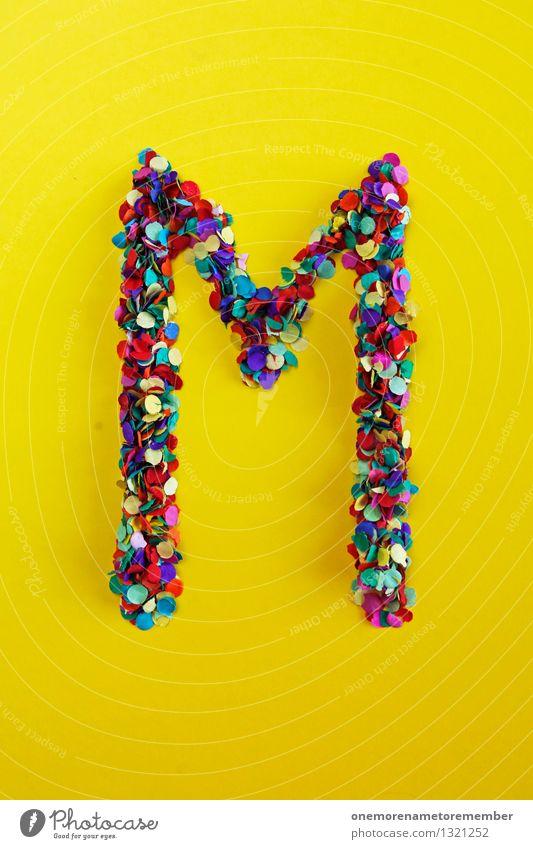 M Kunst Kunstwerk ästhetisch Kindheit Kitsch Mann Menschenleer mehrfarbig modern Musik gelb Konfetti Typographie Buchstaben schreiben viele knallig Design