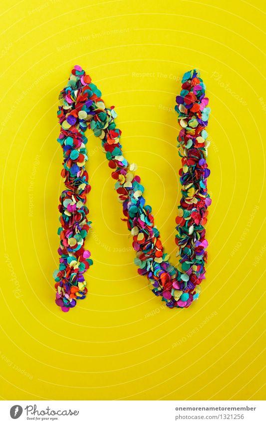 N Kunst ästhetisch nackt Nahaufnahme niedlich Netzwerk viele Buchstaben Konfetti gelb Design Kreativität Farbfoto mehrfarbig Innenaufnahme Experiment abstrakt