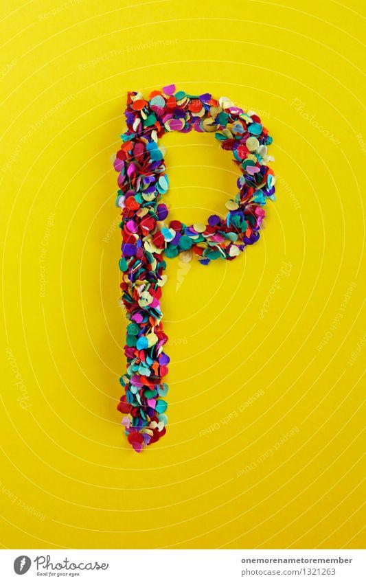 P Kunst Kunstwerk ästhetisch Party Papier Pause Platz Postkarte Buchstaben Typographie gelb Design Kreativität Designwerkstatt Konfetti Farbfoto mehrfarbig