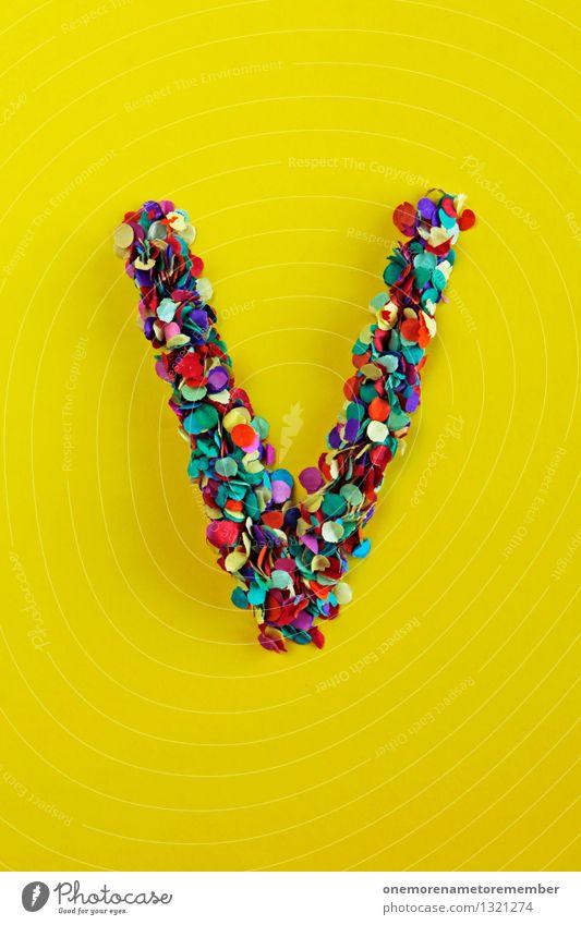 V Kunst Kunstwerk ästhetisch Buchstaben gelb Konfetti Design Designwerkstatt Designmuseum verrückt viele Vorfreude Veranstaltung Basteln gestalten Kreativität