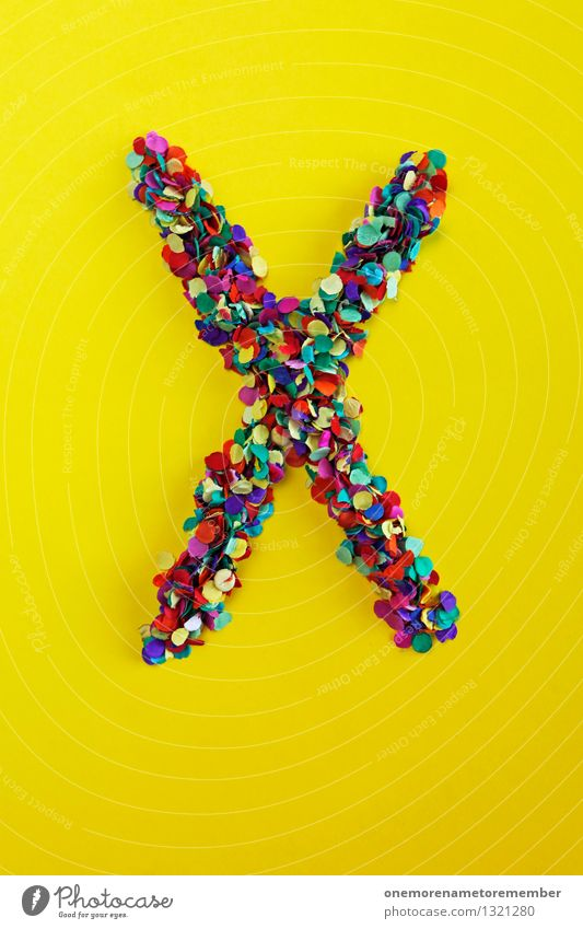 X Kunst Kunstwerk ästhetisch x XXL X-Men x-beinig Xylophon Buchstaben Typographie gelb Konfetti geheimnisvoll Farbfoto mehrfarbig Innenaufnahme Nahaufnahme