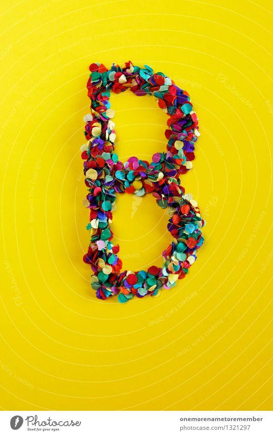 B Kunst ästhetisch Berlin Buchstaben Typographie gelb Kreativität Design viele Konfetti Mosaik Farbfoto mehrfarbig Innenaufnahme Experiment abstrakt Muster