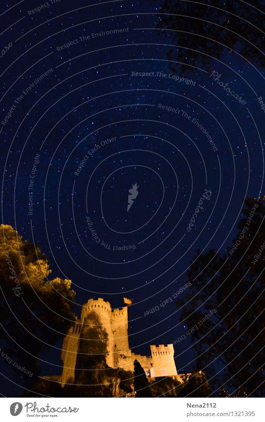 Sternenklar Landschaft Luft Himmel Wolkenloser Himmel Nachthimmel Frühling Sommer Schönes Wetter Burg oder Schloss außergewöhnlich dunkel fantastisch gruselig