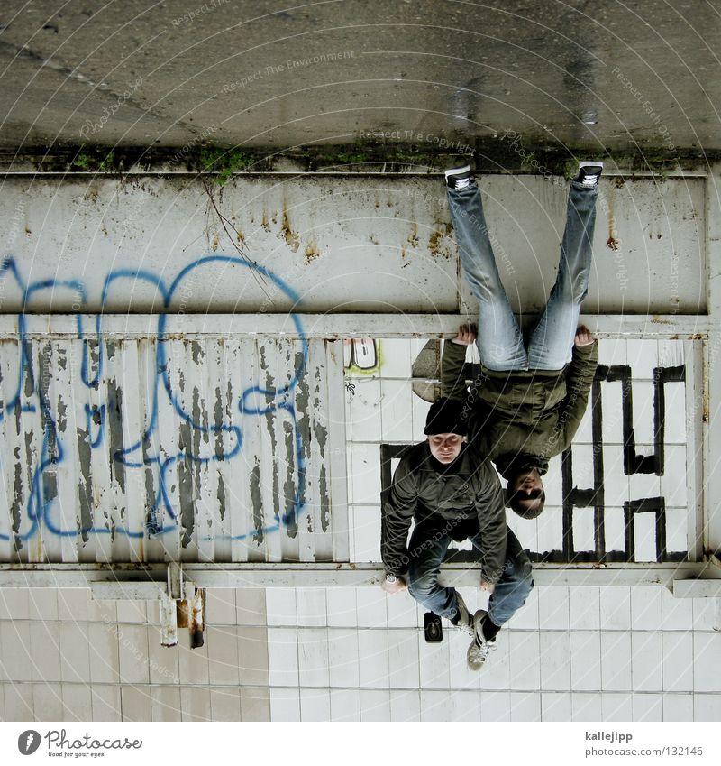 mit steffne abhängen Knall Mann Silhouette Dieb Krimineller Rampe Laderampe Fußgänger Schacht Tunnel Untergrund Ausbruch Flucht umfallen Notbremse Fenster