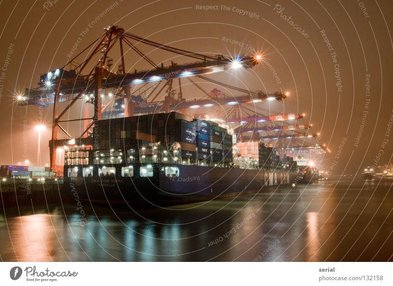 core industry Wasser Lampe Arbeit & Erwerbstätigkeit Wasserfahrzeug Kraft Industrie Hafen Stahl Kran mystisch Container Ware verladen Schaltpult Nachtarbeit