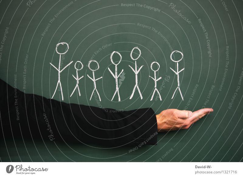 Menschen Lifestyle Bildung Wissenschaften Tafel Kind Frau Erwachsene Mann Leben Menschengruppe Kindergruppe Menschenmenge Anzug Zusammensein ausgestreckt Arme