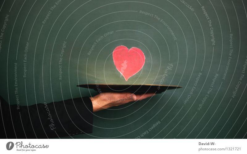 Liebesbeweis Mensch Jugendliche Mann Hand Junger Mann Erwachsene Leben Gefühle Gesundheit Lifestyle maskulin Herz Lebensfreude Geschenk Romantik