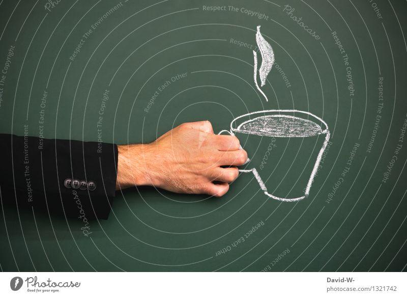 Heißgetränk Getränk Kaffee Latte Macchiato Tee Tasse Becher Lifestyle Gesundheit Leben harmonisch Erholung ruhig Mensch maskulin Mann Erwachsene Hand 1 Kunst