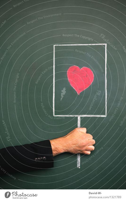 Liebesbotschaft Glück Valentinstag Tafel Mensch maskulin Familie & Verwandtschaft Leben Arme Kunst Kommunizieren rot Fröhlichkeit Frühlingsgefühle Romantik