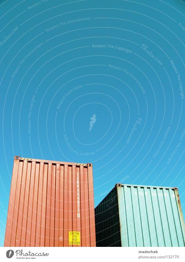 COLOUR MY LIFE INTO BEAUTIFUL Himmel blau schön Sommer Freiheit Raum frei Industrie Farbe Schönes Wetter Güterverkehr & Logistik Lastwagen Stahl Container