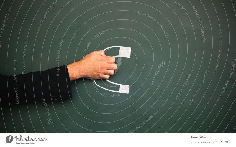 Magnet Mensch grün Hand Bewegung Lifestyle Schule Business Metall Arbeit & Erwerbstätigkeit maskulin Arme Kraft Idee planen Geld Zusammenhalt